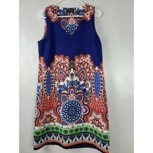 Renee C Blue Floral Print Sleeveless Dress M
